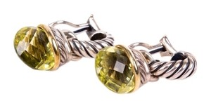 David Yurman David Yurman Sterling Silver Drop Earrings With Green Peridot Detail