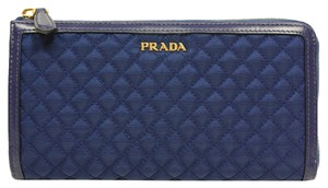 Prada 1m1183 Wallet Quilted Leather blue Clutch