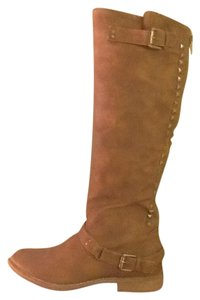Eddie Marc Studded Faux Leather Zipper Brown Boots