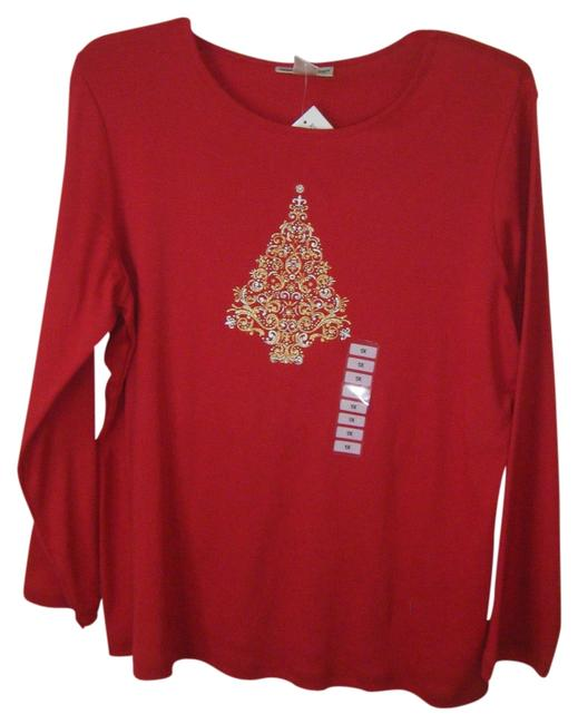 REBECCA MALONE T Shirt RED W EMBELLISHED XMAS TREE