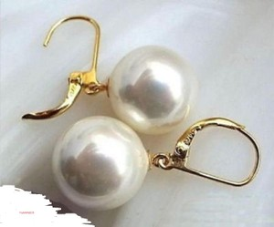 New Fashion 14k Gold Plated Women's Gold Stud Earrings 14mm White South Shell Pearl Earrings
