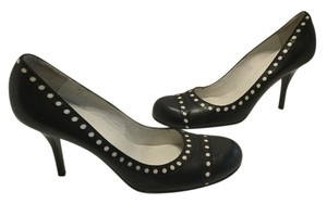 bebe Spanish Stilettos Black all leather white insets Pumps