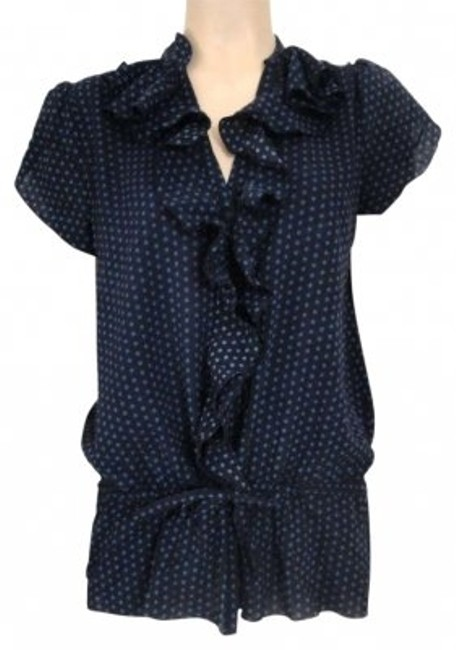 Preload https://item2.tradesy.com/images/blue-design-small-silk-polka-dot-ruffle-blouse-size-6-s-135641-0-0.jpg?width=400&height=650