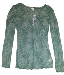 Free People Sheer Button Down Foral Button Down Shirt TEAL
