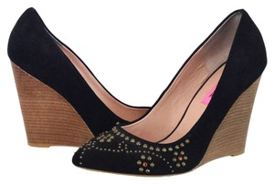 Betsey Johnson Leather Rubber Black/Brown Wedges
