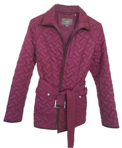 Cole Haan Quilted Belted Insulated Wine Jacket