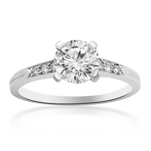 Avital & Co Jewelry 1.60 Carat H-vs2 Round Vintage Antigue Cut Diamond Engagement Ring 18k White Gold