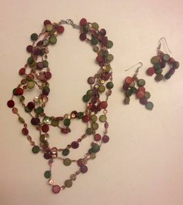 Island Imports Colorful Wood/Sequin Necklace & Earrings Set