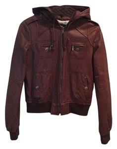 Miss Sixty Leather Hooded Brown Leather Jacket