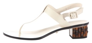 Gucci Gc.k0203.15 Cream White Leather Bamboo Sandals
