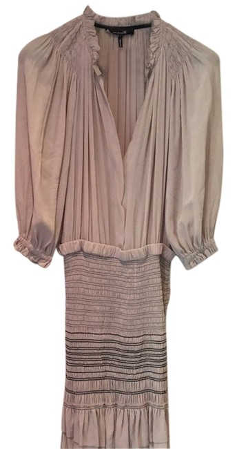 Item - Taupe Silk No 1501 Above Knee Short Casual Dress Size 8 (M)