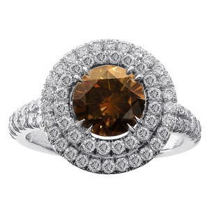 Avital & Co Jewelry 2.10ct Chocolate Brown & White Diamond Halo Split Shank Engagement Ring Platinum