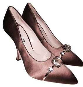 Prada Pointed Toe Satin Crystal Formal Evening Bronze Pumps