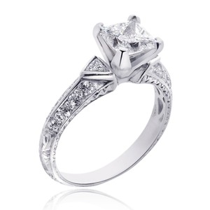 Avital & Co Jewelry 2.05 Carat H-si2 Princess Diamond Antique Style Engagement Ring 14k White Gold