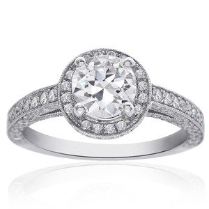 Avital & Co Jewelry 1.90 Carat F-vs2 Round Diamond Micro Pave Halo Engagement Ring 18k White Gold