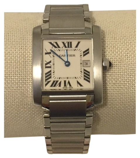 Preload https://item2.tradesy.com/images/cartier-stainless-steel-medium-tank-francaise-with-date-quartz-watch-1356551-0-0.jpg?width=440&height=440