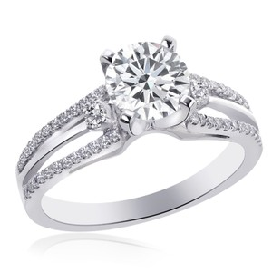 Avital & Co Jewelry 1.50 Carat F-vs2 Natural Round Diamond Split Shank Engagement Ring 18k