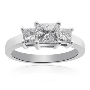 Avital & Co Jewelry 1.51ct H-vs2 Princess Cut Diamond Three Stone Engagement Ring 14k Wg