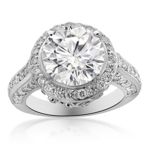 Avital & Co Jewelry 5.01 Carat H-i1 Natural Round Cut Diamond Engagement Ring 14k White Gold