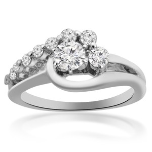 Avital & Co Jewelry 0.65 Carat F-si1 Natural Round Cut Diamond Engagement Ring 14k White Gold