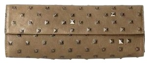 Costella Leather Studded Subtle Olive Clutch