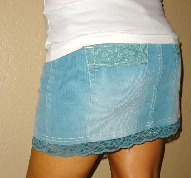 Tilly's Corderoy Outfit Lace Mini Skirt Blue Image 1