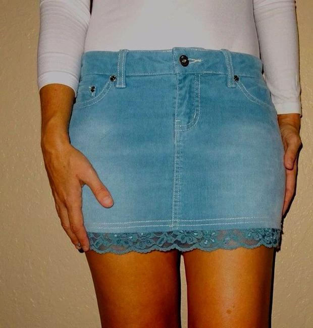 Tilly's Corderoy Outfit Lace Mini Skirt Blue Image 2