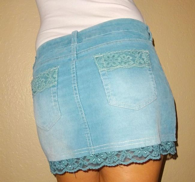 Tilly's Corderoy Outfit Lace Mini Skirt Blue Image 3