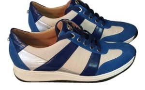 Longchamp City Walkers Luxury Sneakers High End Sneakers Blue, tan, and silver Athletic