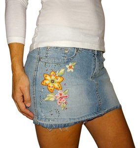 Angels Jeans Flower Mini Skirt Denim blue yellow orange