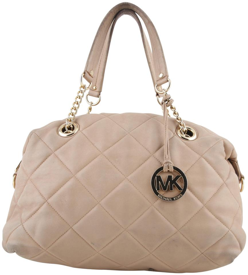 68371a4a99638b Michael Kors Quilted Satchel Beige Leather Shoulder Bag - Tradesy