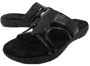 Aerosoles Slide Leather Size 9 black Sandals