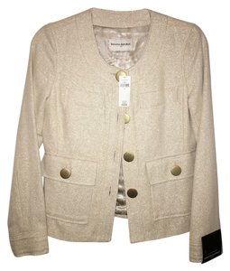 Banana Republic Metallic Gold Buttons Bone Metallic Blazer
