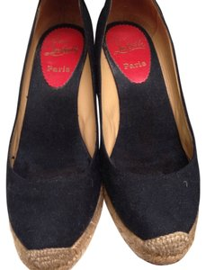 Christian Louboutin Espadrille Canvas Lace Up Black Wedges