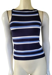 Ralph Lauren Striped Stretch Silk Black Label Top Blue