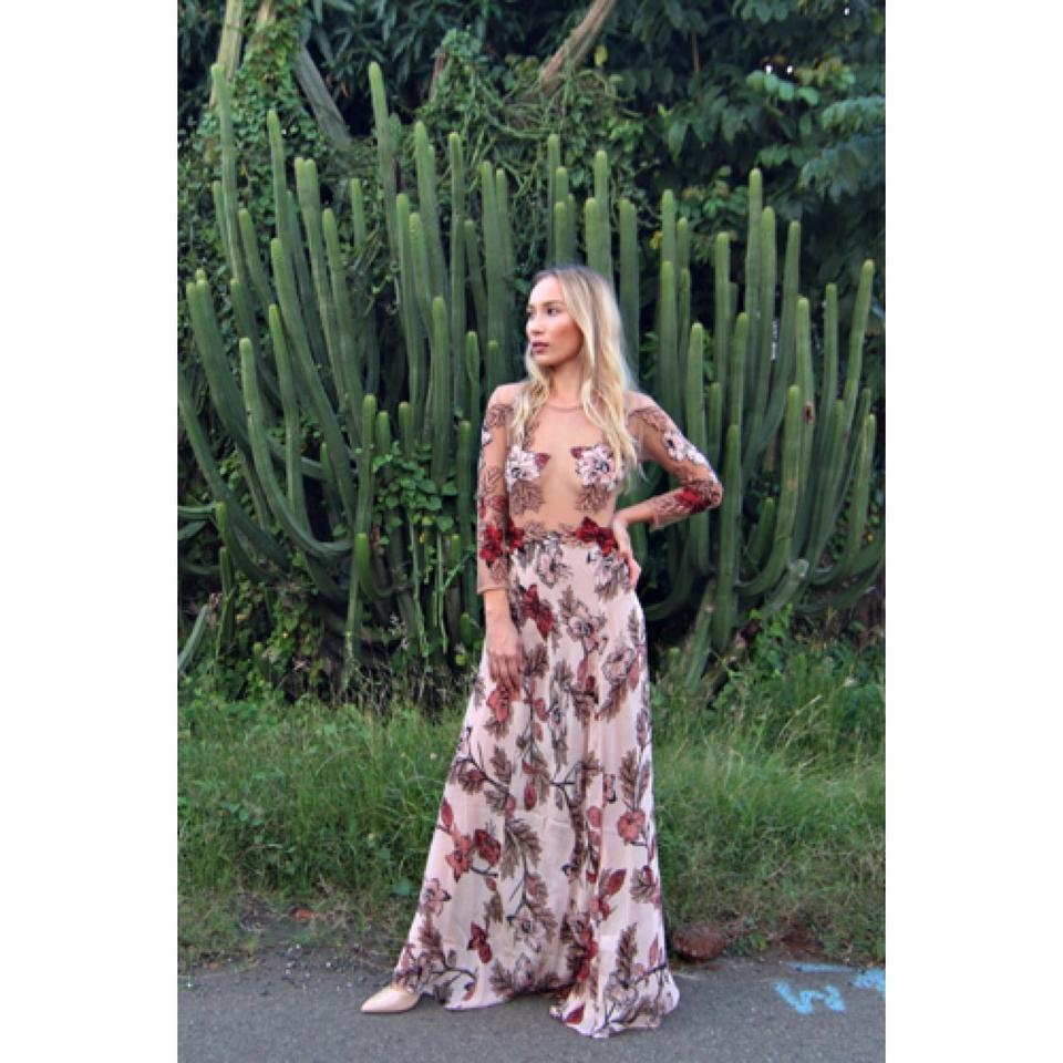 804c45c6fd8 For Love   Lemons Peach And Sierra Maxi Long Cocktail Dress Size 0 ...