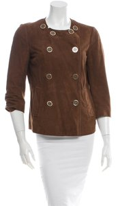Tory Burch Double-breasted Chocolate Brown Suede Jacket