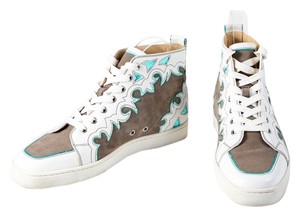 Christian Louboutin White/Brown Metallic Blue Leather/Suede High Tops Mens Multicolor Athletic