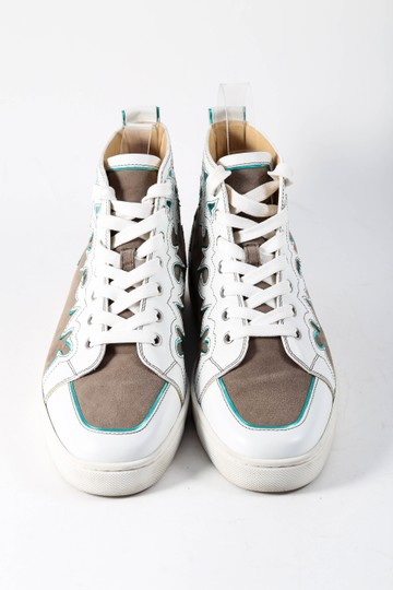 Christian Louboutin White/Brown Metallic Blue Leather/Suede High Tops Mens Multicolor Athletic Image 1