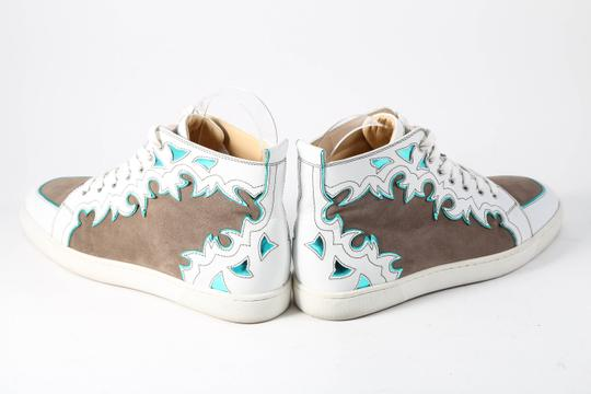 Christian Louboutin White/Brown Metallic Blue Leather/Suede High Tops Mens Multicolor Athletic Image 3