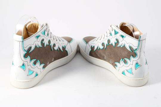Christian Louboutin White/Brown Metallic Blue Leather/Suede High Tops Mens Multicolor Athletic Image 4