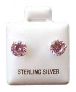 Unknown 2CT. .925 SILVER ROUND CUT GENUINE PINK TOURMALINE STUD EARRINGS