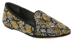B Brian Atwood Crystal Studded Smoking Slipper Fall Sparkle Sparkly Black Multi Flats