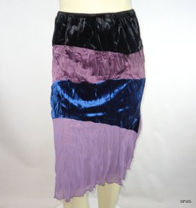 213 Industry Blue Crinkled Velvet Tiered Colorblock Boho Skirt Multi-Color