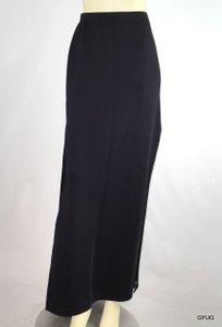 Tadashi Shoji Tadashi Nylon Stretch Straight Pencil Long Side Slit Maxi Skirt Black