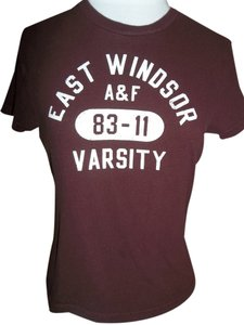 Abercrombie & Fitch Varsity Cotton Junior T Shirt Burgundy