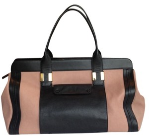Chloe Leather Color-blocking Tote in Black and Salmon