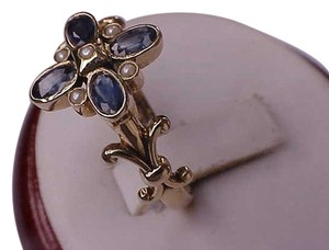375 (9K) BEAUTIFUL Victorian 1.50ct Genuine Sapphire Pearl Fleur-De-Lis Yellow Gold Ring, late 1800s
