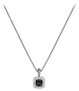 David Yurman Petite Albion pendant with Black onyx and diamonds on chain