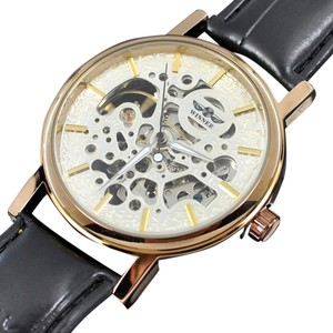 Winner White Cloud Special Edion Men's Automatic Mechanical White Cloud Skeleton Watch Leather Band Limited Editon